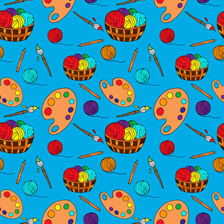 seamless pattern, wallpaper ornament, artist's things, paints, threads