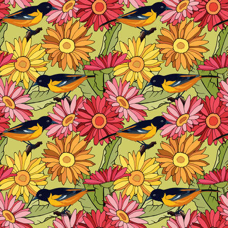 seamless pattern with birds in gerbera flowers, ornament for wallpaper and fabric, wrapping paper
