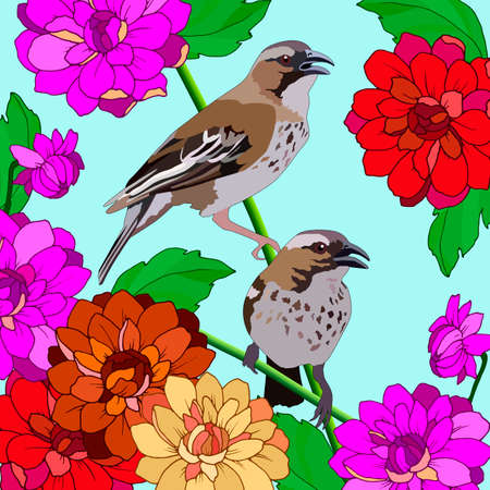 background with birds in dahlia flowers, for different design