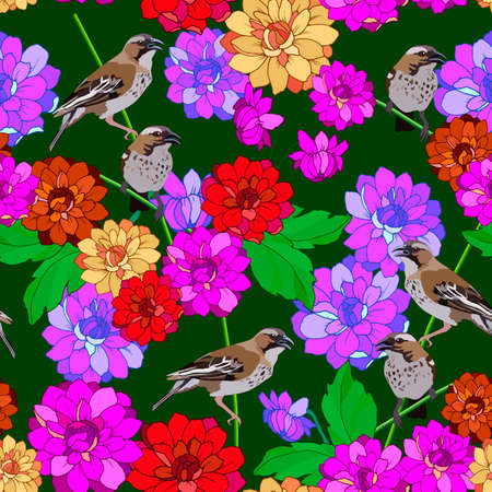 seamless pattern with birds in dahlia flowers, ornament for wallpaper and fabric, wrapping paper 向量圖像