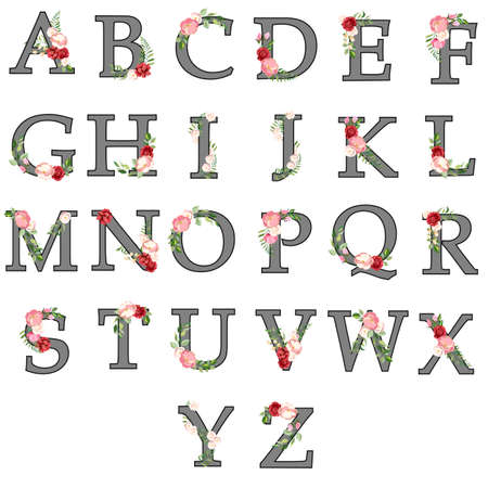 set of letters with a decor of flowers and leaves