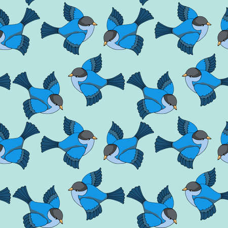 seamless pattern in bright colors with fabulous birds, ornament for baby wallpaper, wrapping paper