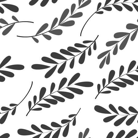 seamless pattern with stylized leaves in gray, wallpaper ornament, wrapping paper, plants background