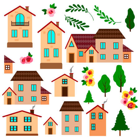 Vector illustration, set of cute houses, flowers and trees, bright bright colors, for design of leaflets, books, isolate on a white background Vettoriali