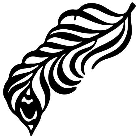 element in black, pattern for tattoo, drawing decorative feather, isolate on a white background Ilustracja
