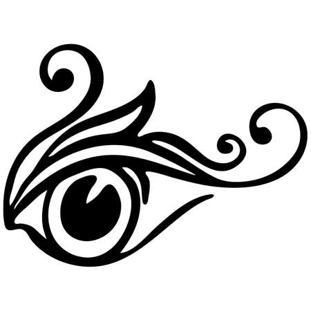 element in black, pattern for tattoo, drawing decorative eye with curls, isolate on a white background