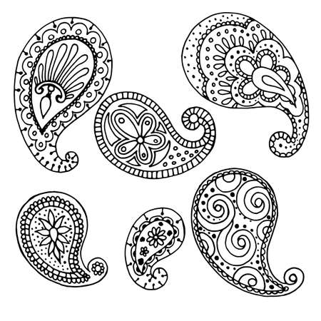 set of elements in black, pattern for tattoo, indian drawings, isolate on a white background, vector illustration