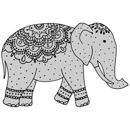element in black, tattoo pattern, decorative elephant drawing, indian drawings, isolate on a white background Ilustracja