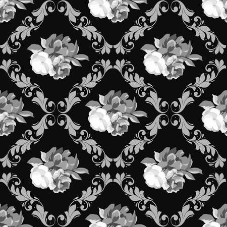 vector illustrations, seamless pattern in monochrome gray with elements of flowers Иллюстрация