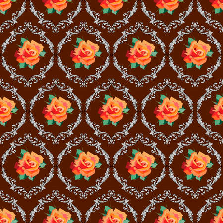 vector illustrations, seamless pattern with flowers elements, damask ornaments, classic background, wallpaper, wrapping paper, scrapbooking