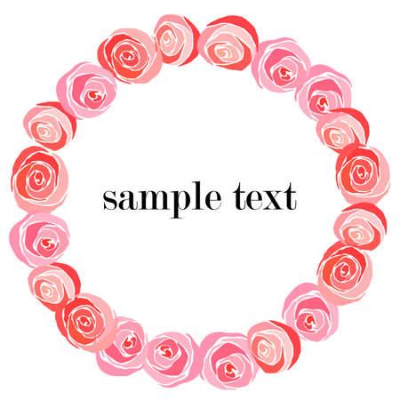 vector illustration, floral round frame for leaflets, greetings, roses, background for design