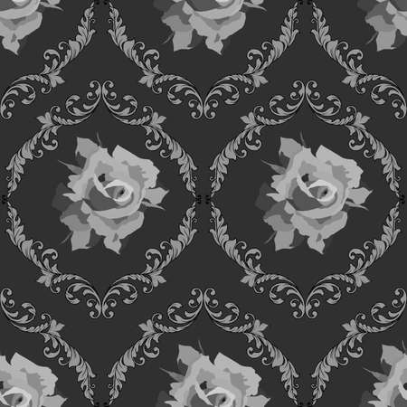 vector illustrations, seamless pattern in monochrome gray with elements of flowers, damask ornaments, classic background, wallpaper, wrapping paper, scrapbooking Иллюстрация