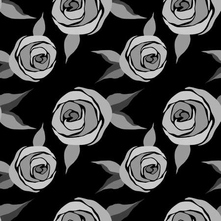 seamless pattern with stylized roses in monochrome gray, wallpaper ornament, wrapping paper, romantic background