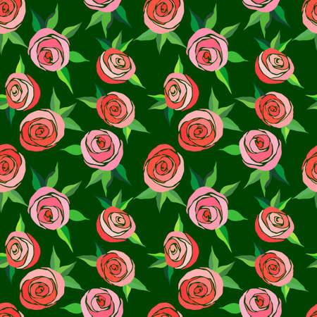 seamless pattern with stylized roses in bright colors, wallpaper ornament, wrapping paper, romantic background Иллюстрация