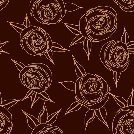 seamless pattern with stylized roses in linear drawing, wallpaper ornament, wrapping paper, romantic background Иллюстрация