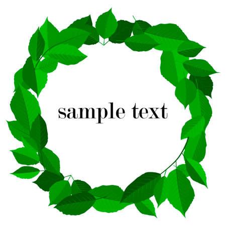 vector illustration, floral round frame for leaflets, greetings, green leaves, background for design
