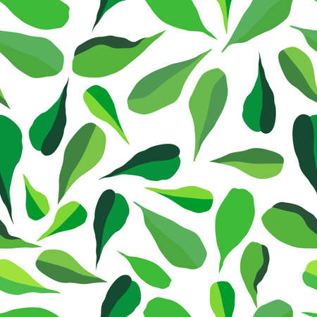 seamless pattern with stylized leaves in green, wallpaper ornament, wrapping paper, plants background