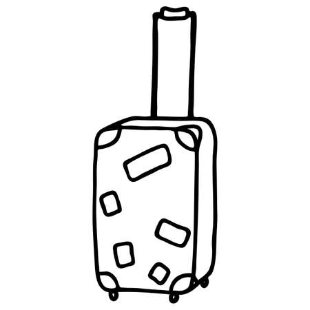 Suitcase for travel in doodle style, black linear drawing, isolate on a white background, vector simple illustration Иллюстрация
