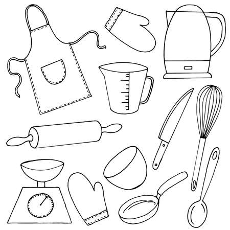Set of kitchen utensils in doodle style, simple vector illustration, linear drawing in black style, isolate on a white background