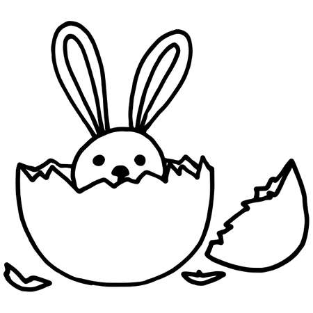 Easter bunny in doodle style, simple vector illustration, for design, linear black pattern, isolate on a white background, easter drawing Иллюстрация