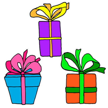 vector illustrations, set of gift drawings in bright color, isolate on a white background, design elements, cartoon style Иллюстрация