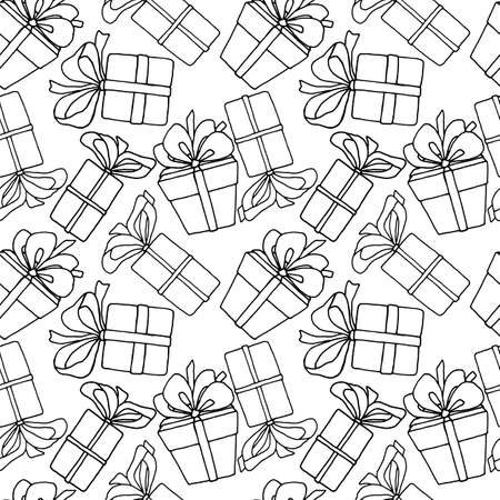 seamless pattern, vector illustrations, gift drawings in black and white, wallpaper ornament, wrapping paper, scrapbooking Иллюстрация