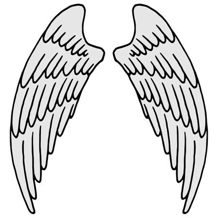 vector illustration, linear drawing of a pair of wings in black and white, isolate, design elements, doodle style