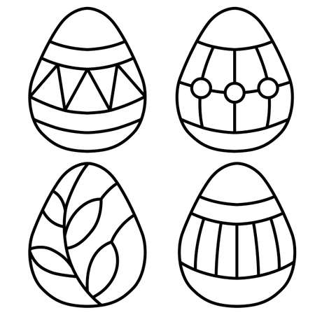 Set of Easter eggs in doodle style, with frame with word, simple vector illustration, linear drawing in black style, isolate on white background
