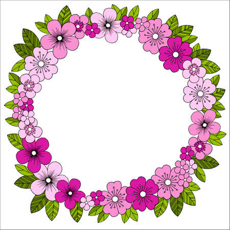 Frame with stylized flowers and leaves, vector illustration, ornament for greetings and design, pattern in bright colors