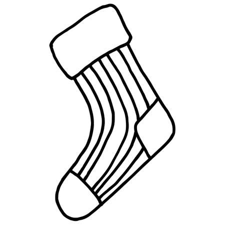Doodle style sock, simple vector illustration, clothing element, for design, black linear pattern, isolate on a white background