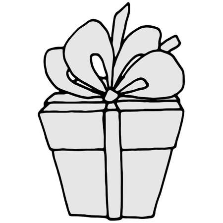 vector illustrations, linear drawing of a gift in black and white, isolate on a white background, design elements, doodle style Иллюстрация