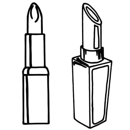Lipstick in doodle style, simple vector illustration, element of cosmetics, for design, black drawing, isolate on a white background