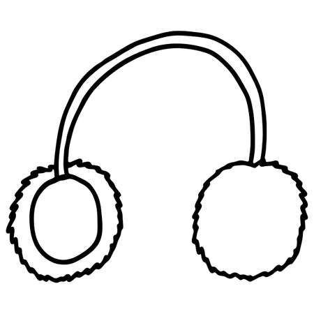 Doodle style headphones, simple vector illustration, music listening device, design element, black and white linear pattern, isolate on a white background