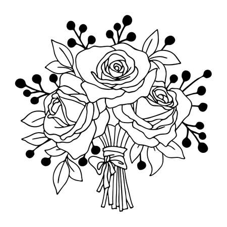 Vector illustration, bouquet of roses, drawing in black, isolate on a white background