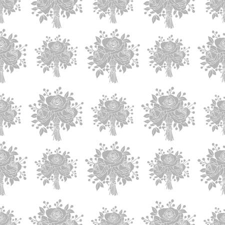 Seamless pattern, bouquet of roses, ornament for wallpaper and fabric, floral background