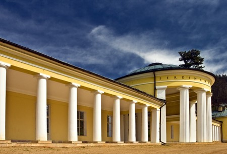 Pavilion of the Ferdinand spring,Marianske Lazne,West Bohemia with blue sky