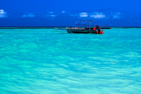 Indian Ocean with fishing boats in Zanzibar