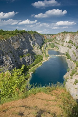 Former limestone quarry Morina,central Bohemia Stock Photo