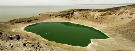 Panoramatic view of Flamingo lake on Central island,Lake Turkana, northern Kenya Stock Photo