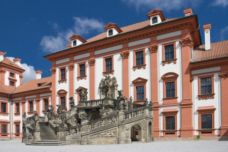 View of czech baroque Troja castle in Prague