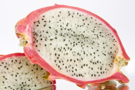 Asian exotic pitahaya(red-dragon) fruit on white background