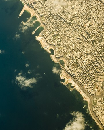 Bird view of Mediterranean Sea coast in egyptian Alexandria