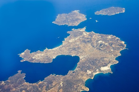 Bird view of greek cycladic islands Milos,Kimolos and Polyaegos
