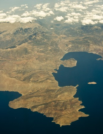 Bird view of greek gulf of Corinth