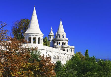 bastion: Fishermans Bastion towers,Budapest,Hungary Stock Photo