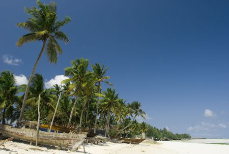 zanzibar: Zanzibar zandstrand met palmbomen en vissersboten