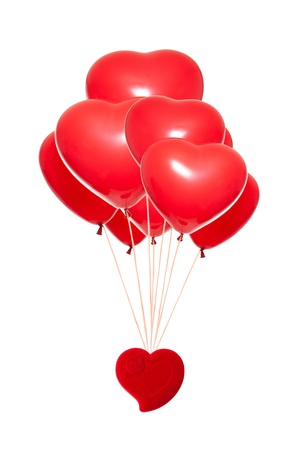 fancy box: Fancy box with a red heart-shaped balloon, isolated against white background Stock Photo