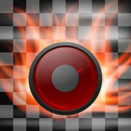 Abstract racing checkered background with speedometer in flame   Vector