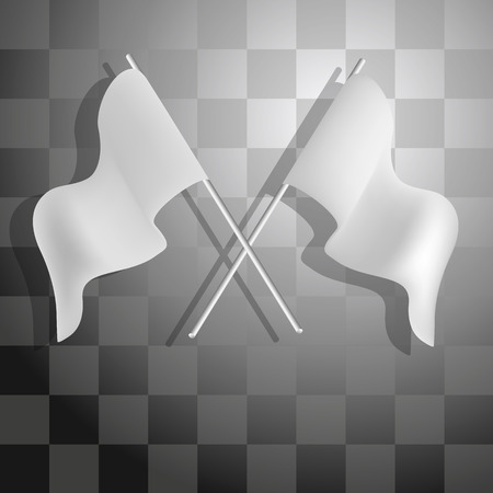 Abstract racing checkered background with white flags. Vector