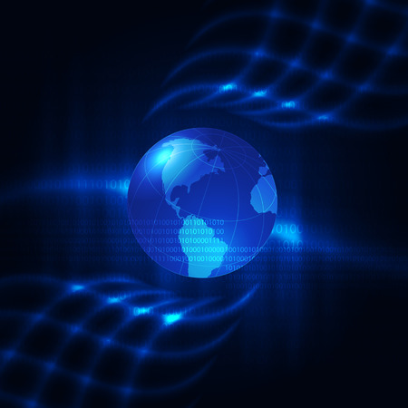 impetuous: Abstract blue background with earth. Glowing grid.